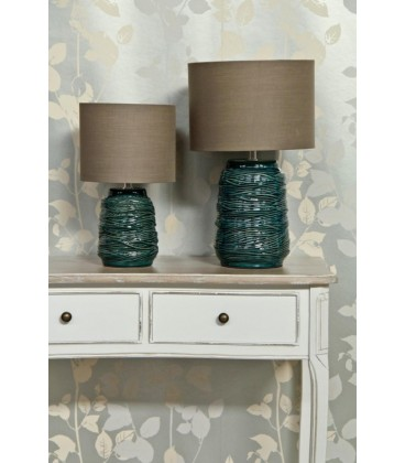 Lámpara mesa verde cerámica 23 x 23 x 38 cm
