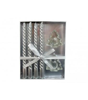 Caja 4 velas plata + 2 portavelas 20 cm