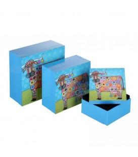 S/3 cajas vaca azul madera