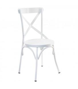 Silla blanca metal 88,5x40 cm
