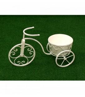 Bici 1 maceta peq 47.5x29x19.5 cm forja blanca