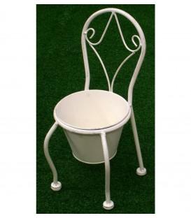 Maceta silla 15x35x16.5 cm redonda forja blanca