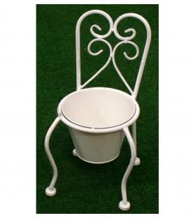 Maceta 15x34x16 cm silla con forma forja blanca
