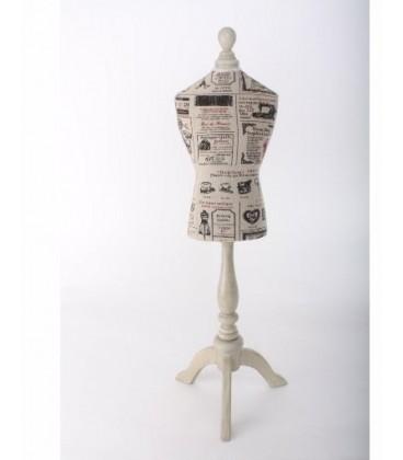 Busto madera lino 20x76 cm costuras