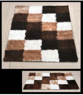 """Alfombra """"Cuadrados"""" 120 x 170 cm blanco/marrón/beige"""