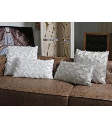 Cojin estampado flecos blanco 45x45 cm