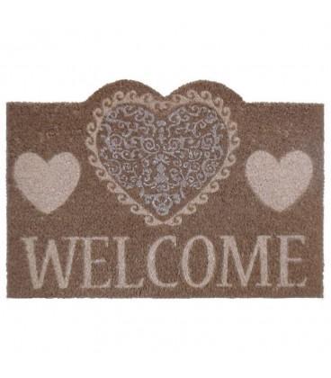 "Felpudo ""Hearts welcome"" fibra de coco 60 x 40 cm"