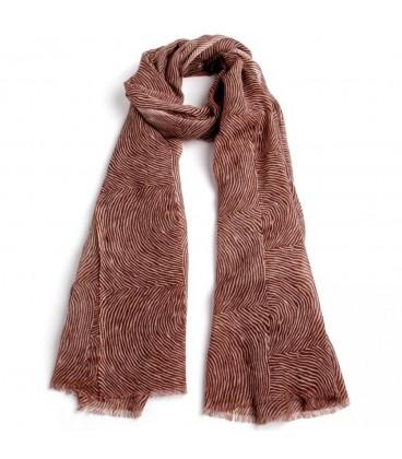Pañuelo marrón lana-algodón 70 x 180 cm.