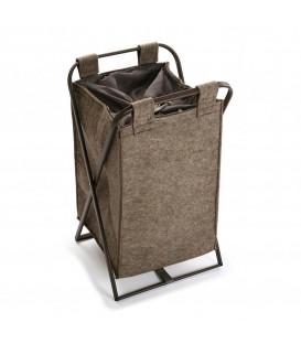 Cesto ropa felpa marrón 36x33x61 cm.