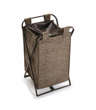 Cesto ropa felpa marrón 36x33x61 cm