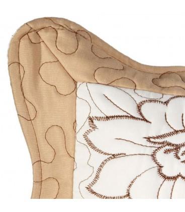 Funda cojín crema-marrón 45 x 45 cm