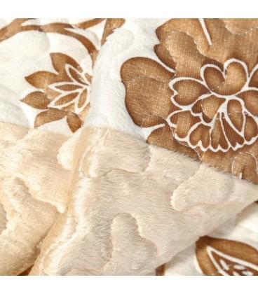 Colcha bouti flores crema-marrón 180x260 cm