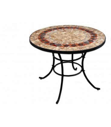 Mesa redonda forja/cerámica