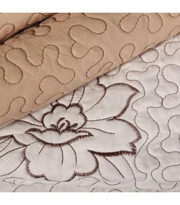 Colcha bouti flores crema-marrón