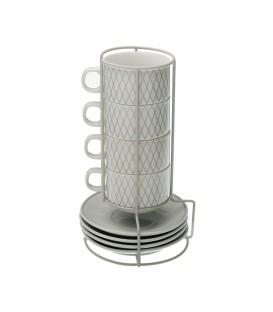 S/4 tazas té c/plato Diamond 160 ml