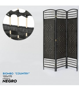 "Biombo ""Country"" negro 170x120 cm"