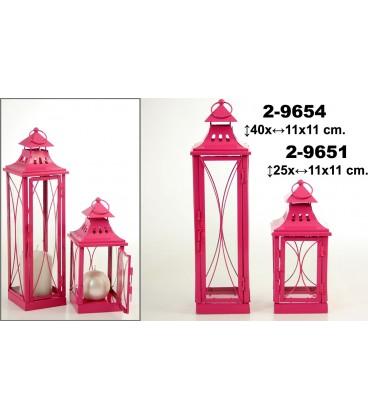 Farol metal rosa 11x11x25 cm