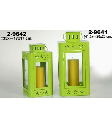 Farol verde metal 20x20x41,5 cm