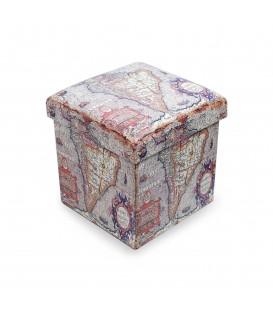 Puff-arcón Mundo 33,5x32x32 cm