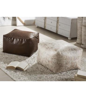 Puff textil blanco envej 52x52x32 cm