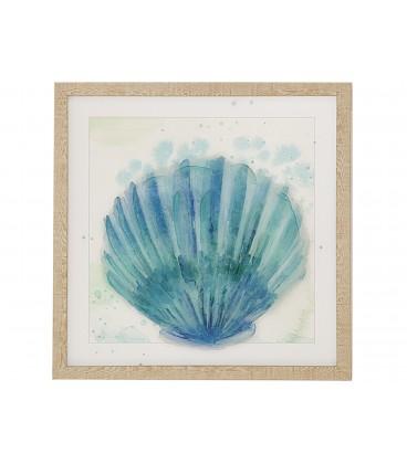 Cuadro concha azul 42x42 cm c/marco