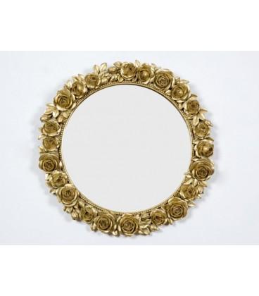 Espejo rosas 36x36x3 cm dorado