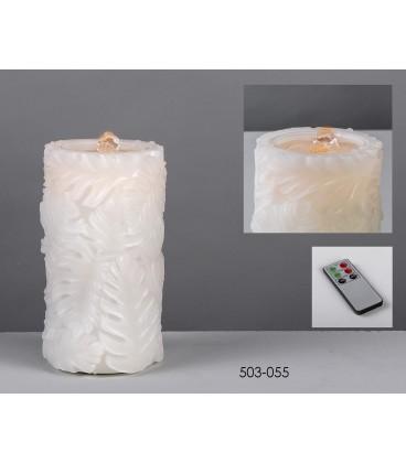 Cirio batería fuente/led hojas 10x18 cm
