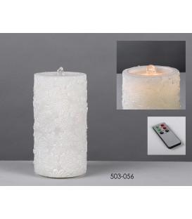 Cirio batería fuente/led encaje 10x20cm