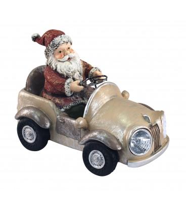 Papá Noel coche 16x22x13 cm