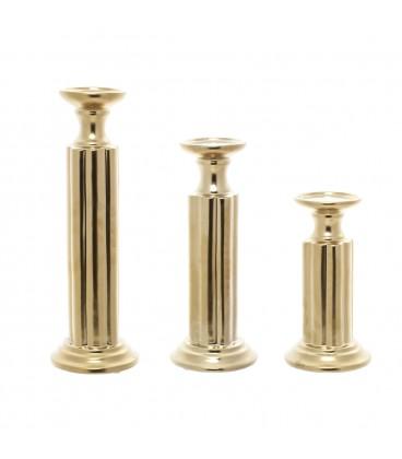 Portavelas cerámica dorado