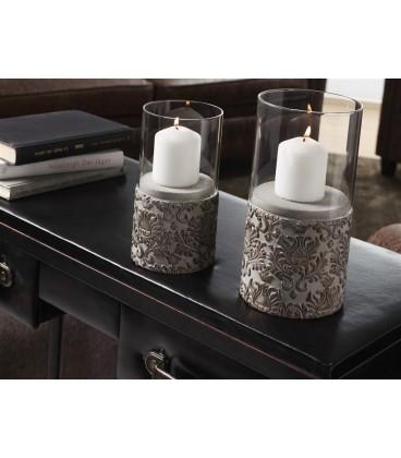 Portavelas cerámica c/cristal
