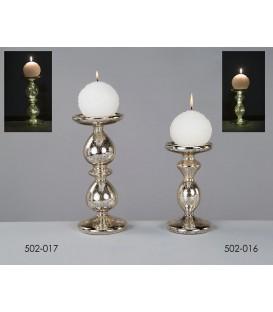 Portavelas cristal c/luz 10x18 cm
