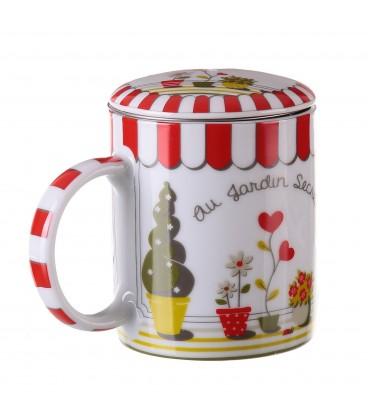 "Taza mug tapa/filtro ""Garden"" 8,20x10,2 cm"