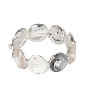 Pulsera plateada elástica círculos c/perla