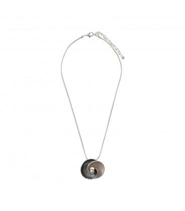 Gargantilla colgante círculos c/perla