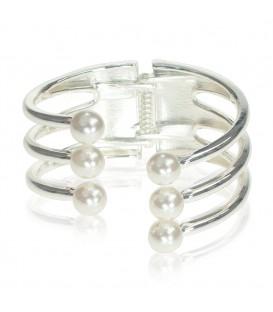 Pulsera rígida 3v plata/perlas