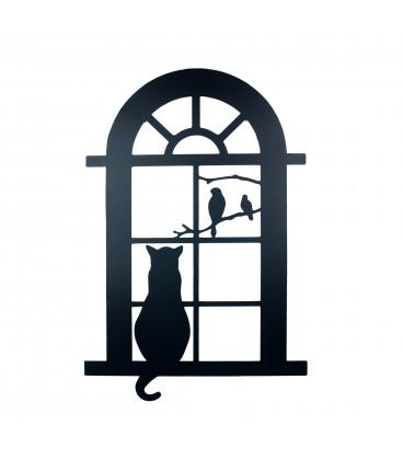 Mural gato ventana