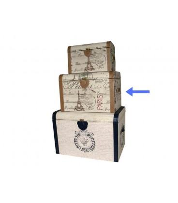 Baúl textil/polipiel 49x33x34 cm