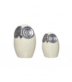 Búho beis/plata - 2 tamaños