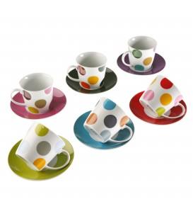 Set 6 tazas té c/plato Lunares