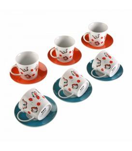 Set 6 tazas té c/plato Mariposas