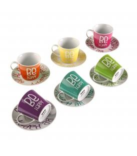 Set 6 tazas té c/plato Colores