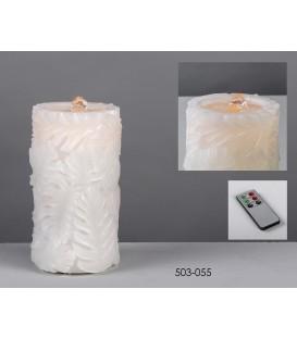 Cirio batería fuente/led Hojas relieve