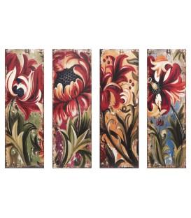 S/4 cuadros 30x90 cm flores