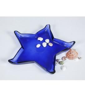Estrella vidrio azul 37x37x5 cm