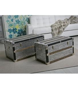 Baúl plata/madera 76x46x41 cm