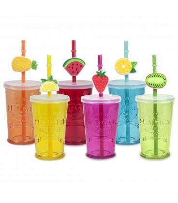 S/6 Vasos cristal colores c/pajita