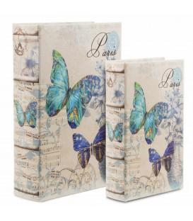 S/2 cajas libro Mariposas 7x21x30 cm
