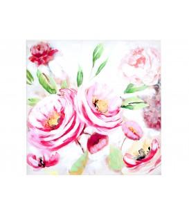 Cuadro 80x80 cm peonías rosa