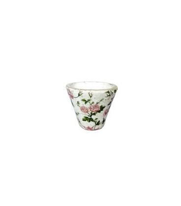 Maceta craquelada rosas 16x16x14 cm